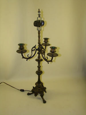 Egyptian Revival Bronze Candelabra Lamp with Paw Feet