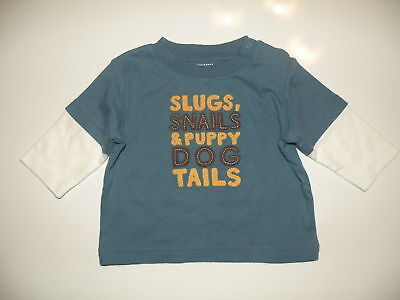 Gymboree Puppy Dog Tails Blue Slugs  L/s Tee 0-3 Nwt