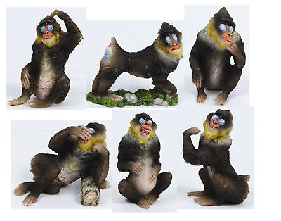 Animal Forest Mandrills Monkey Set Of 6 Statue Figurines/ 6 Changos