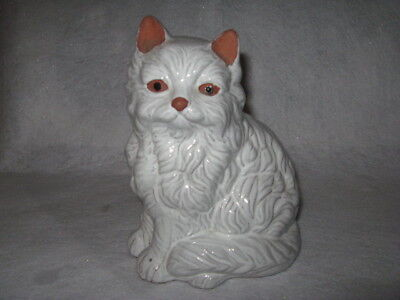 Old Gray and White Cat Figurine
