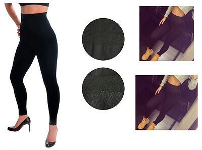 Ladies HIGH WAISTED FOOTLESS Fleece Lined BLACK LEGGING Tummy #TX701 One Size
