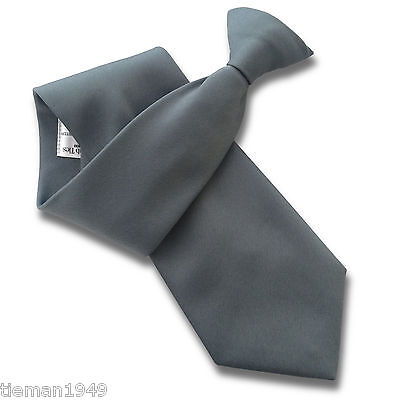 Grey Semi Satin Security Guard Bouncer Clip On Tie
