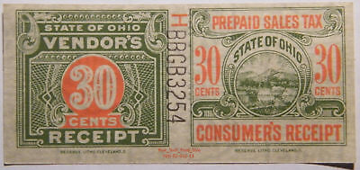 Ohio Prepaid Sales Tax, Dual Receipts 30¢ - Issued Prior To 1962