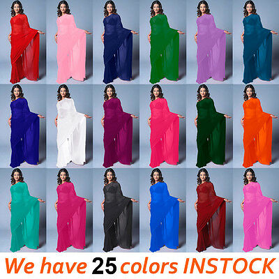 NW Bollywood Wedding Chiffon Plain Party Wear Saree Sari BellyDance 25 Color TOP