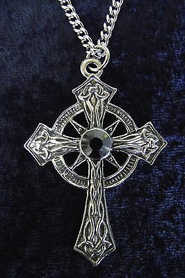Celtic Cross Pendant Swarovski Jet Crystal Goth Stainless Chain Pewter Necklace