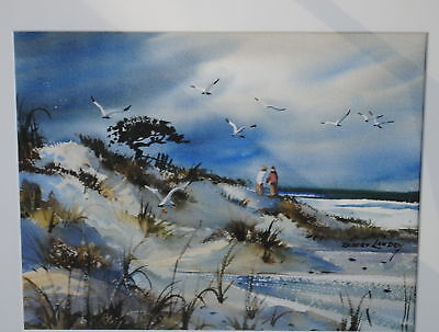 Couple on the Sand Dunes with Seagulls by Robert Landry