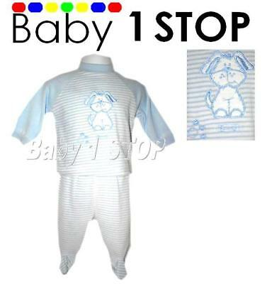 Baby Stripe Blue & White 2 Piece Outfit 6-12 Months