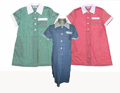 Girls Check School Dress Red Blue Green Lots of Szs New