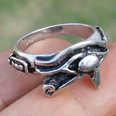 WADJET RE RA EYE OF HORUS GOD Egyptian Illuminati Pagan Wicca Pewter Ring Silver