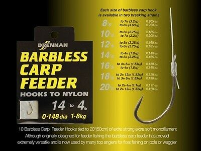 Drennan Barbless Carp Feeder Hooks To Nylon Coarse Fishing Tackle