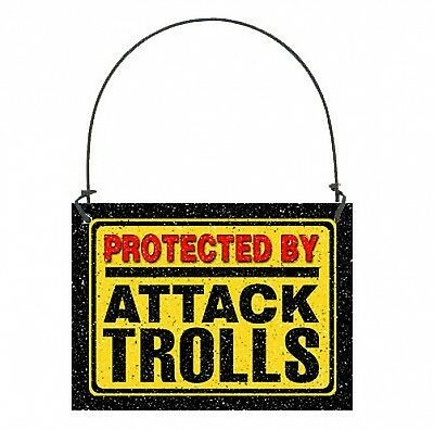 DECO Mini Sign Gift Wood Ornament  Protected by Attack Trolls Gag Funny Gift USA