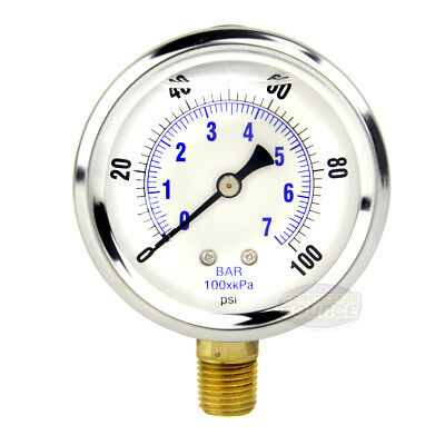 "Quality Liquid Filled 2.5"" 100 PSI Air Pressure Gauge Lower Mnt / Side Mount"