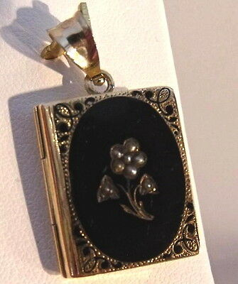 Victorian 14K Gold 3D Book Seed Pearl Mourning Photo Locket Pendant Charm