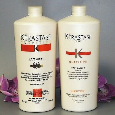WITH FREE PUMP KERASTASE NUTRITIVE BAIN SATIN 1 AND LAIT VITAL 34oz 1000ml each