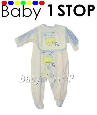 Baby Boys Velour Sleepsuit Blue Giraffe Newborn New