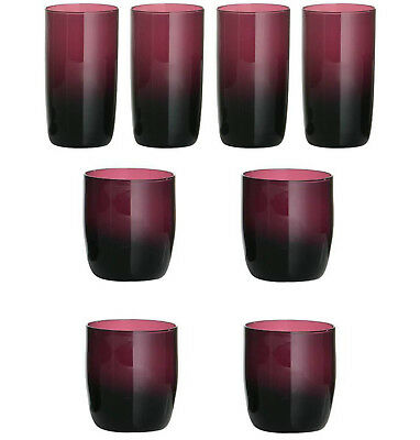 Set Of 4 Purple Champagne White Red Wine Hi Ball Tumblers Mixer Drinks Glasses