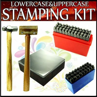 2mm Lowercase & Uppercase Letters Stamping Punching Kit w/ 4oz Hammer & Block