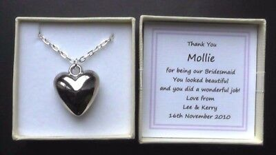 Maid Of Honour Gift Thank You Keepsake Personalised Silver Plated Heart Necklace