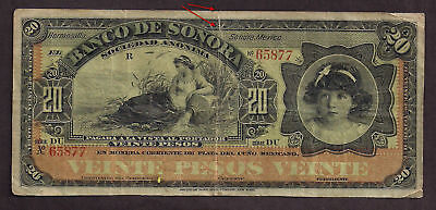 Mexico Bank Of Sonora 20 Pesos Used - 877
