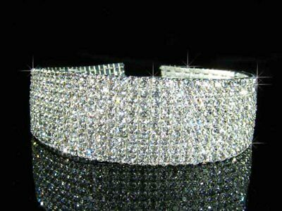 SALE 9 Rows Bridal Prom made with Swarovski Crystal Choker Necklace  3cm BN0151