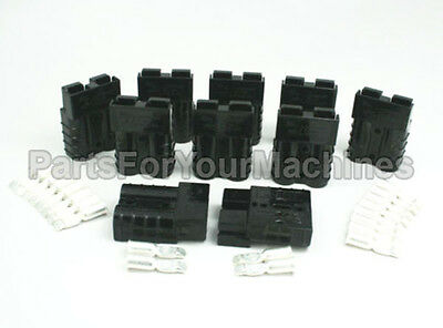 10 BLACK, SMALL CONNECTOR PLUGS w/CONTACTS #8AWG, SB50A, ANDERSON, RADIOS, CB