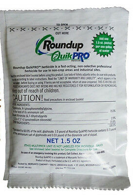Roundup Quick Pro 73.3% Makes 1 gallon 1.5 oz. packet Dry Round Up Quickpro