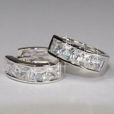 SALE 18K Prom White Gold Filled Earrings made with Swarovski Crystal Men E414