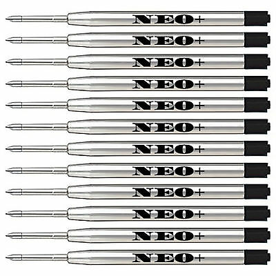 12 x Quality Ballpoint GEL ink Metal Pen Refills in black ink, Parker compatible