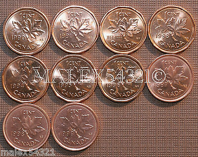 1990 To 1999 Bu Canada 1 Cent Mint State (10 Coins) >>Free $Hipping In Canada!<<