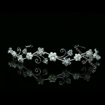 Bridal Wedding Veil Crystal Pearl Headband Tiara 7598