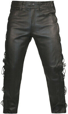 MENS BLACK LEATHER COWHIDE MOTORCYCLE Classic Biker JEANS TROUSERS PANTS