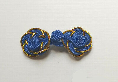 6 pairs blue gold rose Chinese Frogs buttons - sewing