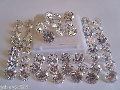 8mm round clear white cubic zirconia loose gemstone for £1.05p each.