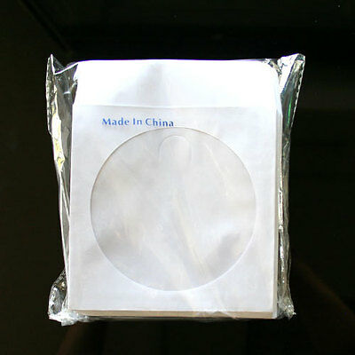100 Paper Sleeve FLAP CLEAR WINDOW for CD DVD (80G)