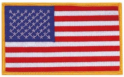 "Jumbo US Flag Patch 3x5"" Gold Border Embroidered Iron On American USA Large Big"