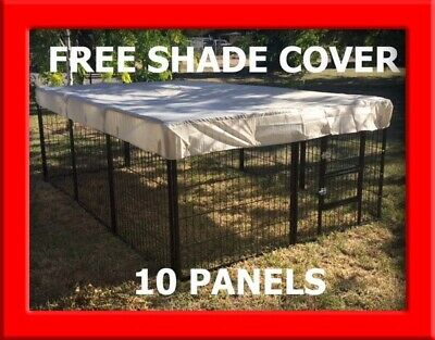 10 X Panel Extra Large Galvanized Portable Dog Pup Run Exercise Pen Cage Kennel