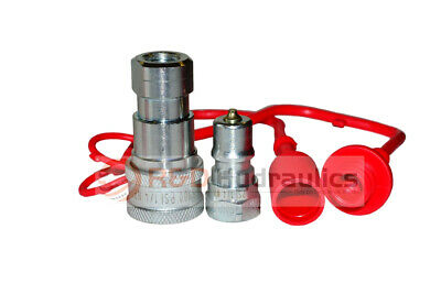 "1/4"" ISO-B Hydraulic Quick Couplers w/Dust Cap & Plug"