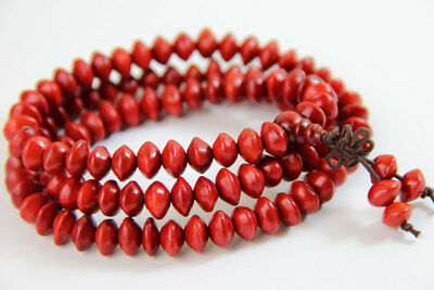 8x6mm Tibet Buddhism 108 red heart Bodhi Seeds Prayer Buddha Mala Necklace