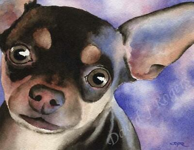 CHIHUAHUA  Painting Dog ART 11 X 14 LARGE Signed DJR
