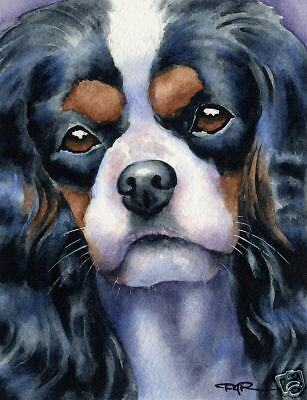 CAVALIER KING CHARLES Dog Painting ART 11 X 14 by DJR