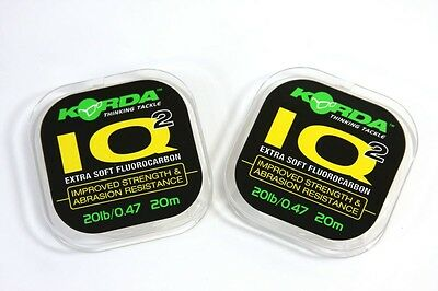 Korda NEW Carp Fishing IQ & IQ2 Flurocarbon Hooklink 20m *All Breaking Strains*