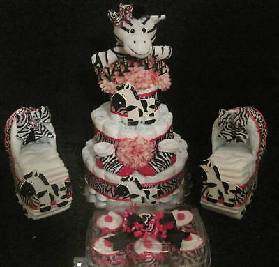 Hot Pink And Zebra Print Cake, Carriage, And Cupcakes!
