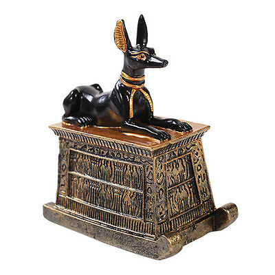 Anubis Small Deity Egyptian Trinket Box Statue Figurine Black Gold