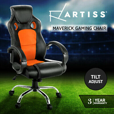 Racing Office Chair Sport Executive Computer Gaming Deluxe PU Leather Mesh OR