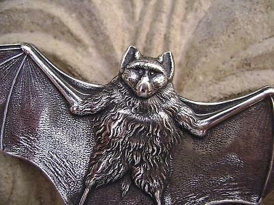 3262 Antiqued .925 Sterling Silver ptd Brass Bat Pendant Centerpiece USA, 1 Qty