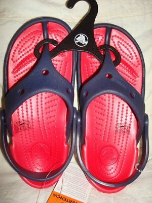 NEW Crocs Electro Flip Flops Red Navy Toddler 6/7 Water Shoes Sandals FREE SHIP