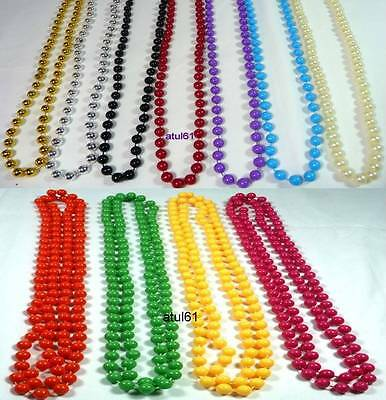 Bright Hot Colours Long Rope Plastic Beads Necklace  Fancy Dress Disco Party New