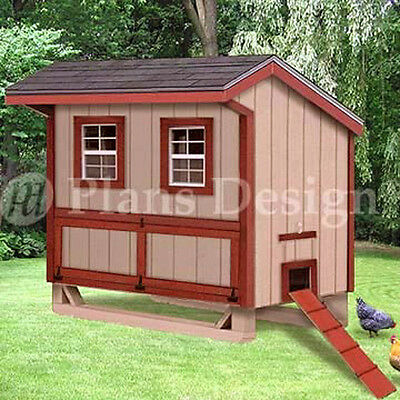 Material List Included #90406B Barn Chicken House 4/'x6/' Gambrel Coop Plans