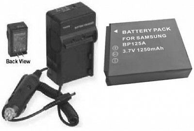 Battery + Charger for Samsung HMXQ10BN HMX-Q10BN/XAA