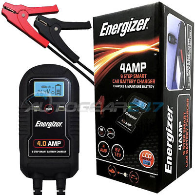Energizer 50904 Car Van Bike 6v 12v 4A 9 Step Smart Battery Charger & Maintainer